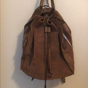 Faux Suede & Leather Backpack